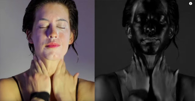 Image From The Video:  Ultraviolet Light Shows The Effects Of Sunscreen Protection