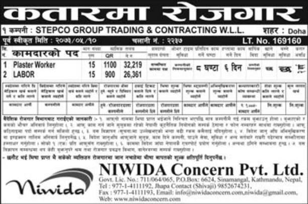 Jobs For Nepali In QATAR, Salary -Rs.32,000/