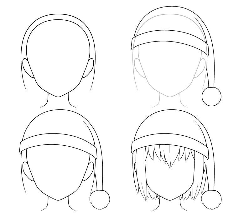 Anime topi Santa menggambar selangkah demi selangkah
