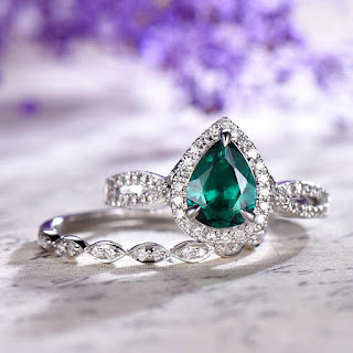 2 PCS Emerald engagement ring halo set,14k white gold lab-emerald wedding ring,twisted anniversary ring,marquise diamond matching band