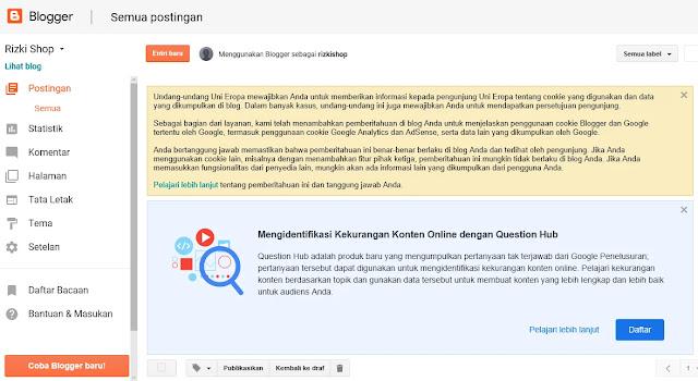 Tampilan blog yang sudah siap di isi dengan konten postingan dan halaman blogger