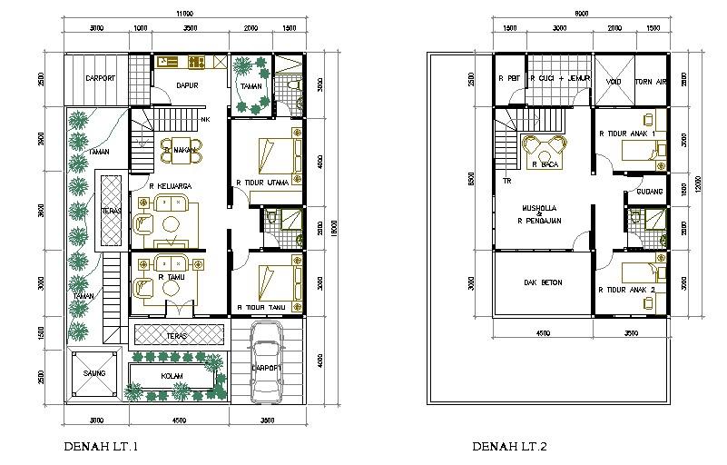 gambar denah rumah mewah 2 lantai 1
