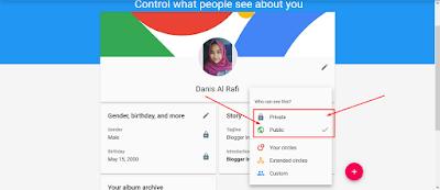 cara merubah about me google plus
