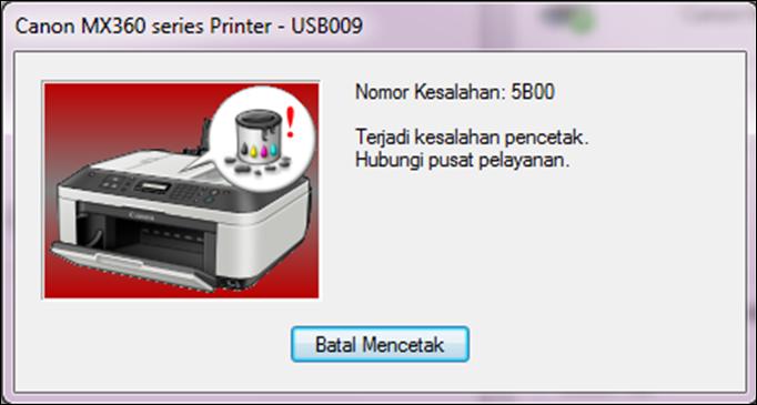 Cara Memperbaiki ( Reset ) Canon IP2770 Error 5B00