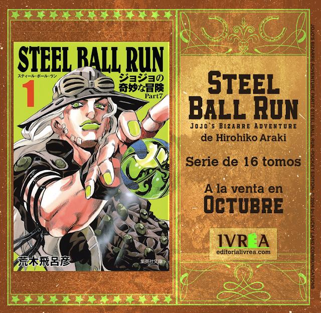 Ivrea publicará en octubre Jojo's Bizarre Adventure: STEEL BALL RUN.