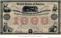 $1,000 bond, Virginia & Tennessee Railroad Company, 1853.
