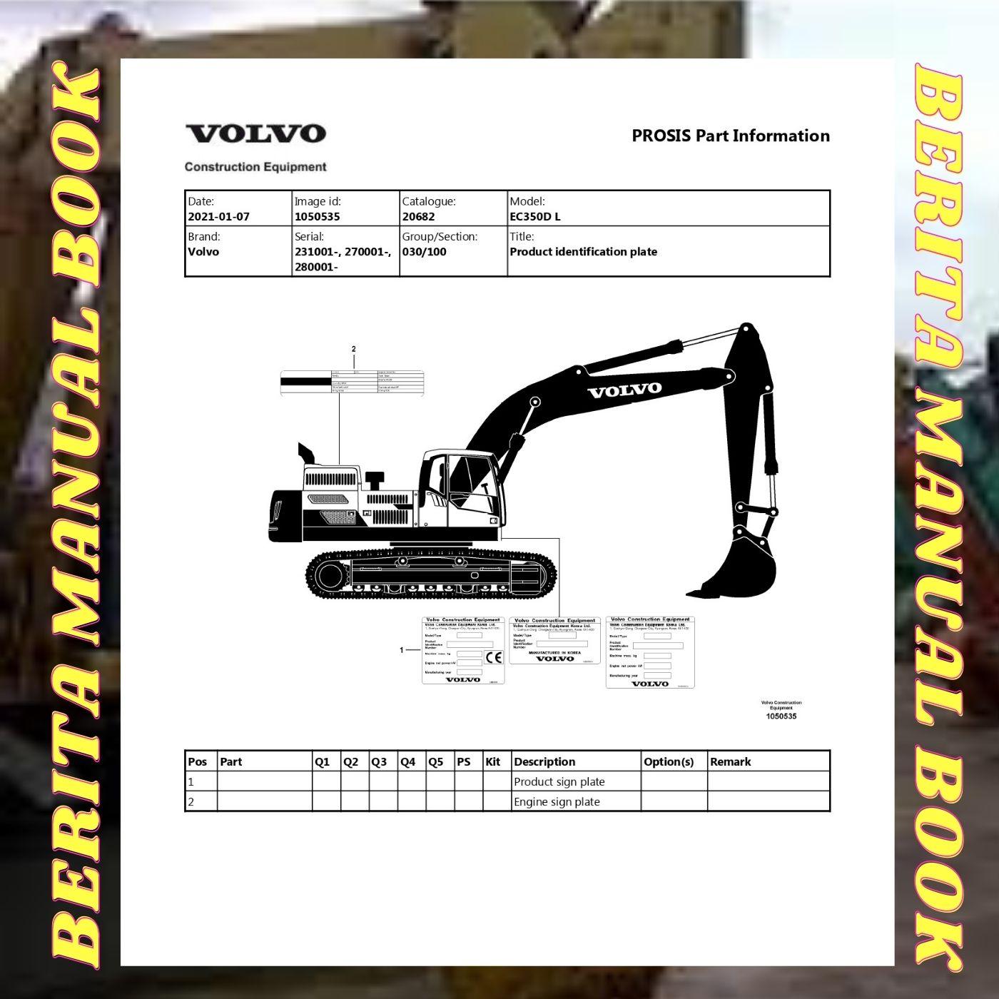 Volvo parts manual catalog EC350D L excavator