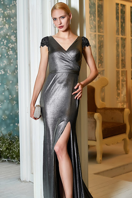 new v cut slit prom gown