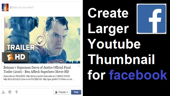 Blogger Code: Create Larger Youtube Thumbnail for Facebook Post