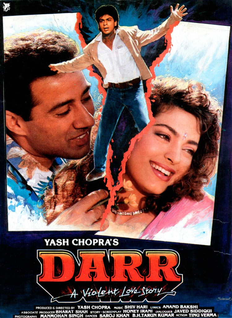 Poster Of Bollywood Movie Darr (1993) 300MB Compressed Small Size Pc Movie Free Download worldfree4u.com