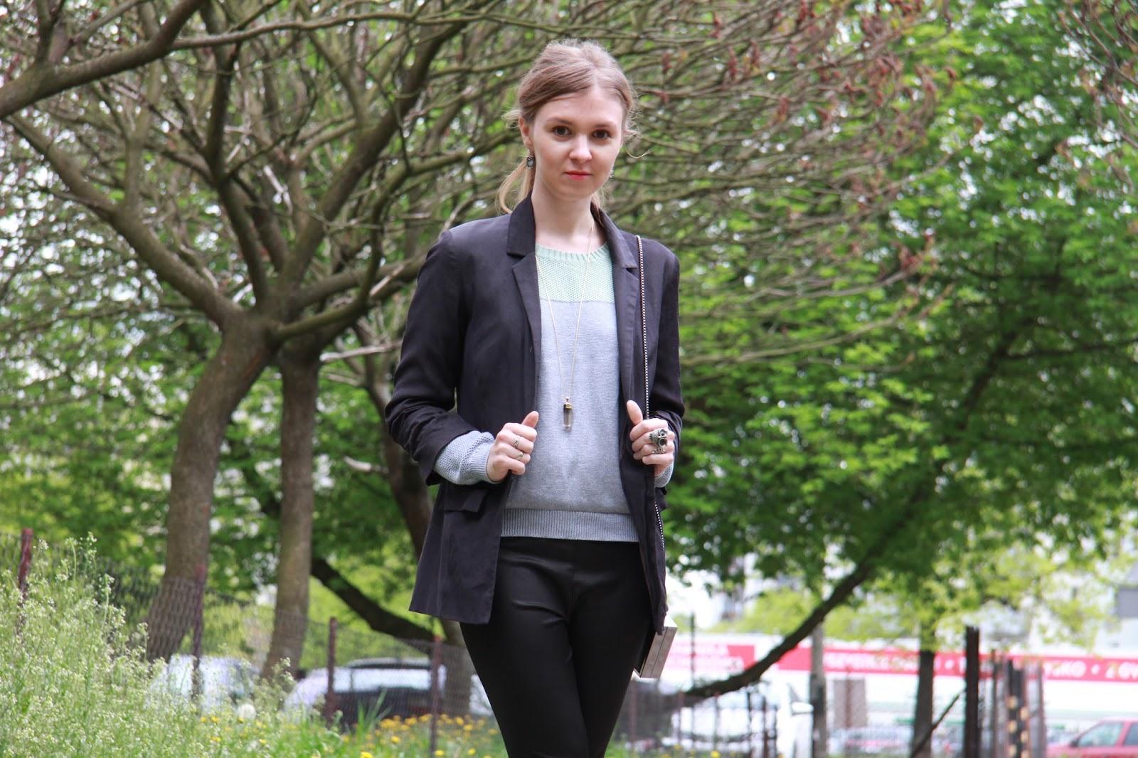 #outfit skórzane legginsy