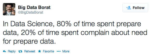 In Data Science, 80% of time spent prepare data, 20% of time spent complain about need for prepare data.