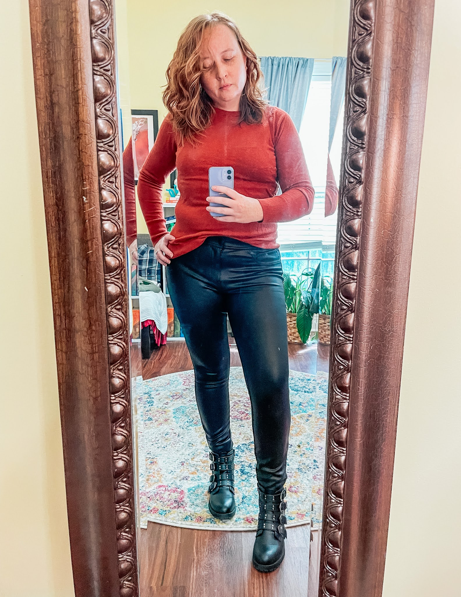 leather-pants-orange-sweater-motorcycle-boots