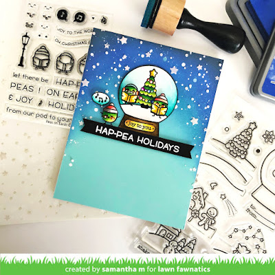 Hap-Pea Holidays Card by Samantha Mann, Lawn Fawn, Lawn Fawnatics Challenge, Christmas, Fawny Holiday Week, Stencil, Distress Oxide, #lawnfawn #lawnfawnatics #fawnyholiday #distressinks #distressoxide #christmascard