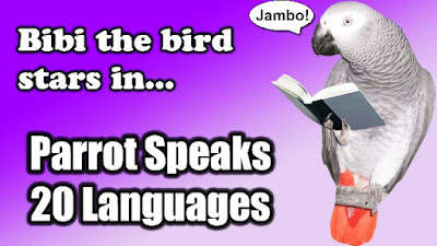 The parrot speaks 2 languages
