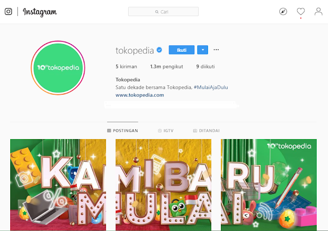 Akun Instagram Tokopedia Bangkit Lagi, Apakah Tokopedia Ganti Logo Baru?
