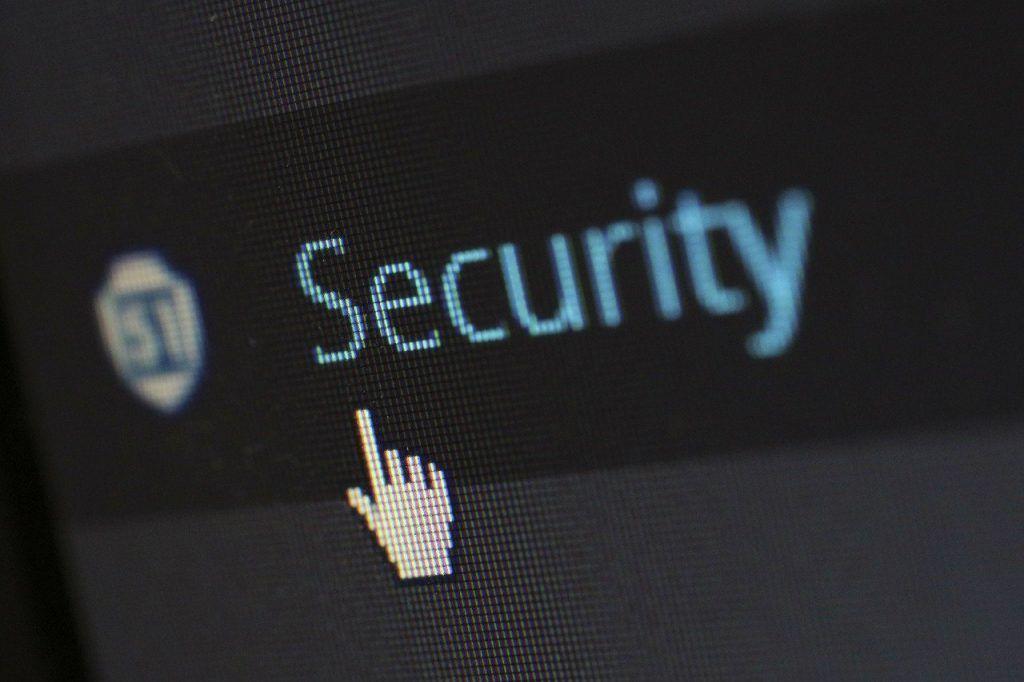 Seta do mouse em cima da palavra Security