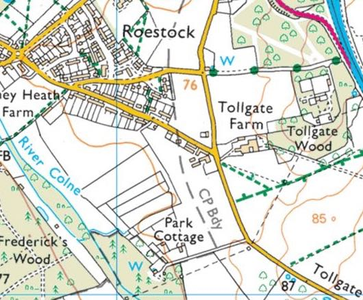 Well north of Tollgate Farm, Roestock and south-west of Park Cottage Image is a screen grab from the Ordnance Survey app taken in August 2018