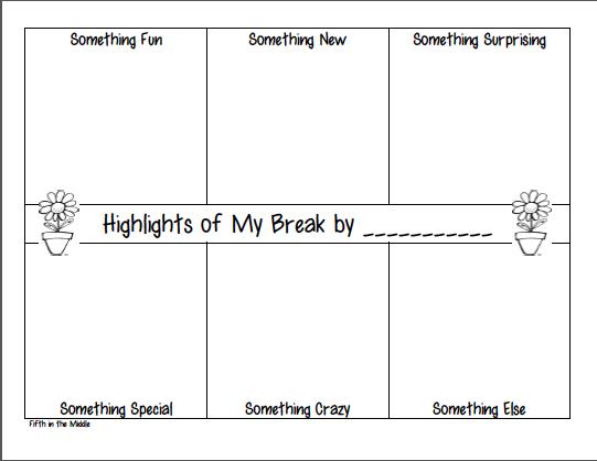 Fifth Grade Freebies: Highlights of My Spring Break Freebie