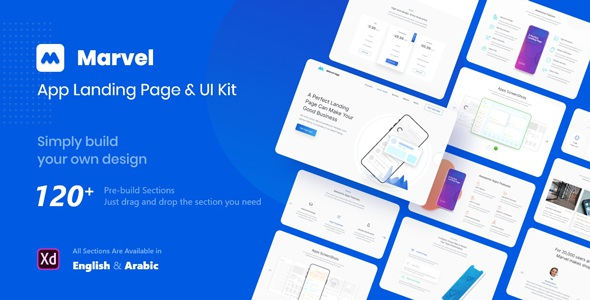 Download App Landing Page Adobe XD Template