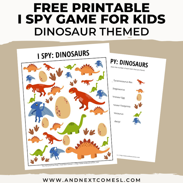 Free I spy game printable for kids: dinosaur themed