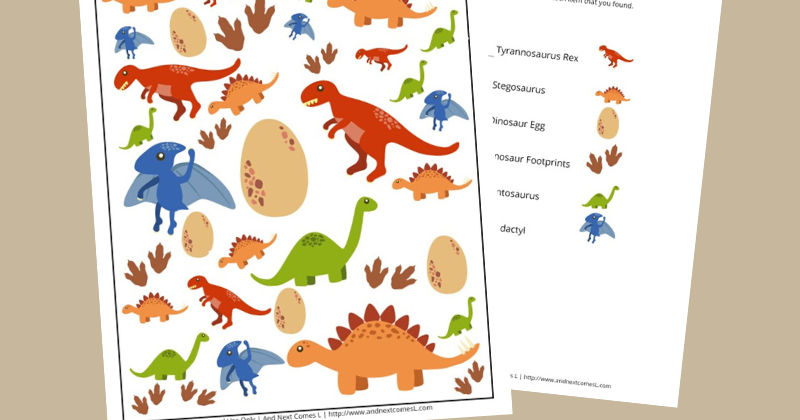 Dinosaur Themed I Spy Game Free Printable For Kids And Next Comes L Hyperlexia Resources