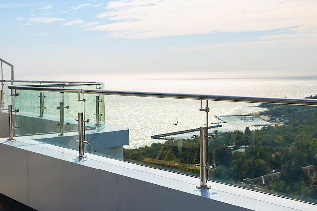 glass railing of terrace