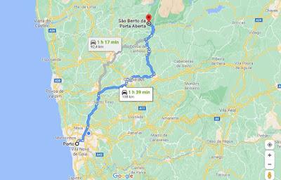 mapa da distância entre o Porto e São Bento da Porta Aberta