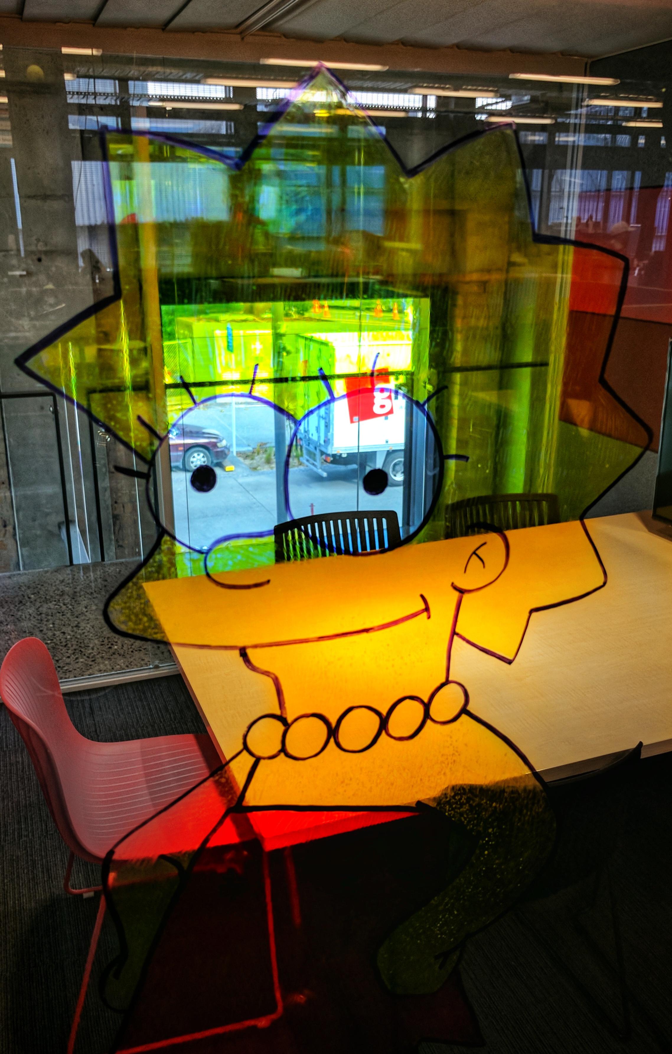 Lisa Simpson drawn on a GridAKL meeting room window
