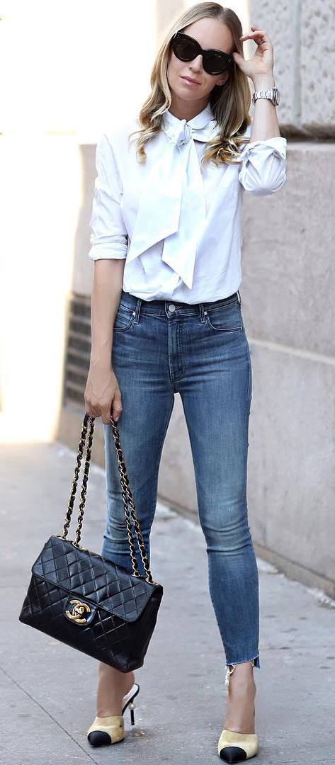 casual style inspiration: blouse + skinny jeans + bag