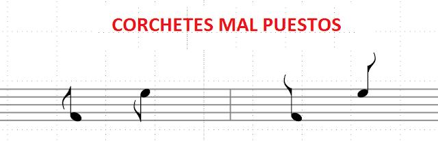 Figuras con los corchetes mal puestos: a la izquierda de la plica o también alejándose de la cabeza en lugar de intentar tocarla