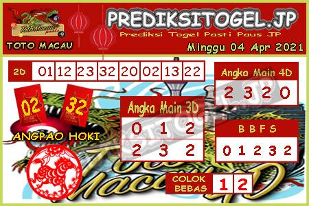 Prediksi Togel Toto Macau JP Minggu 04 April 2021