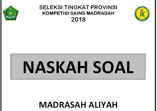 Soal KSM Provinsi Madrasah Aliyah 2019