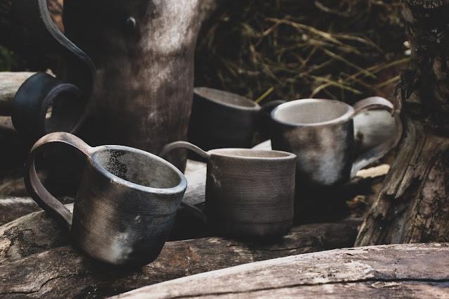 Canecas de Cerâmica feitas com a técnica Raku