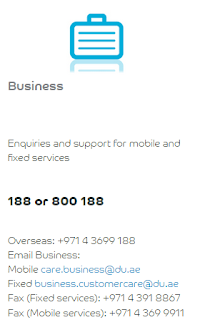Du Business customer care contact number