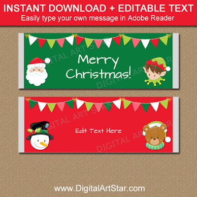 kids christmas candy bar wrappers - easy party favors