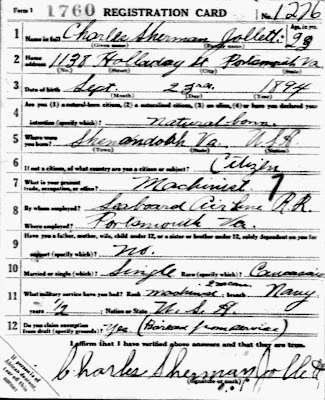 Charles Sherman Jollett WWI draft card