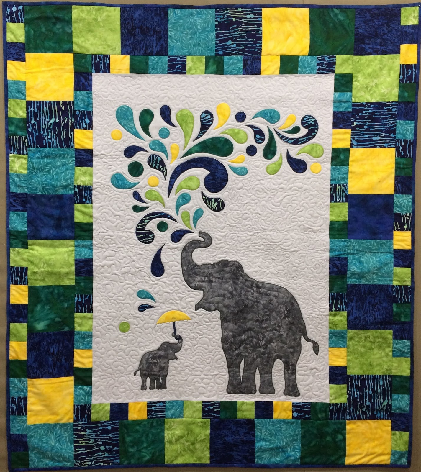 Hand Made Karma Paisley Splash Elephant Baby Quilt For