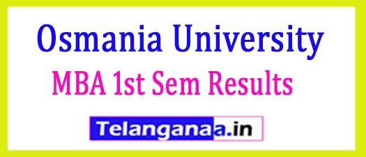 Osmania University OU MBA 1st Sem Results (CBCS) 2018