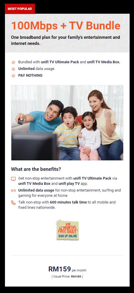UniFi 100Mbps + TV Bundle