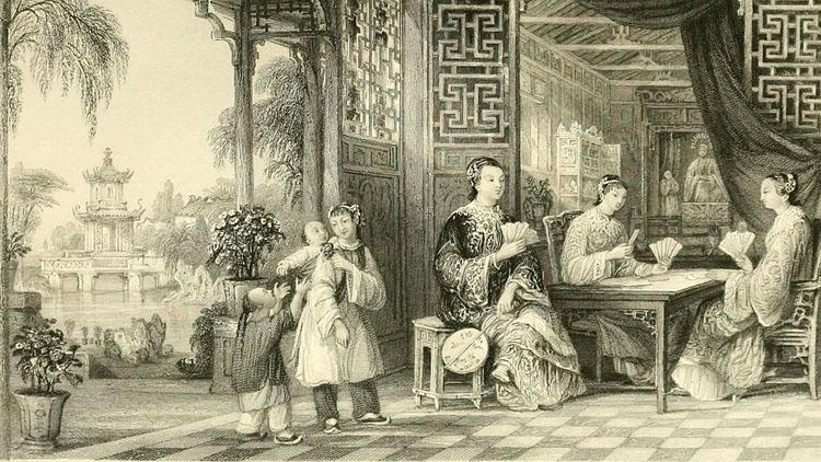 Mujeres chinas jugando a las cartas