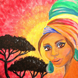 African turban girl acrylic portrait painting