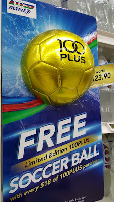 100Plus is offering a limited edition 100Plus soccer ball in a colour reminiscent of a trophy with a minimum purchase of S$18.