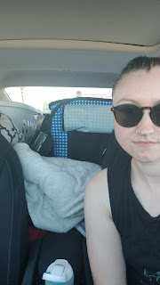 selfie inside car with large cat carrier visible in backseat