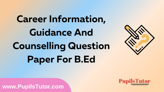 Career Information, Guidance And Counseling Question Paper For B.Ed 1st And 2nd Year And All The 4 Semesters In English, Hindi And Marathi Medium Free Download PDF | Career Information, Guidance And Counselling Question Paper In English | Career Information, Guidance And Counselling Question Paper In Hindi | Career Information, Guidance And Counselling Question Paper In Marathi