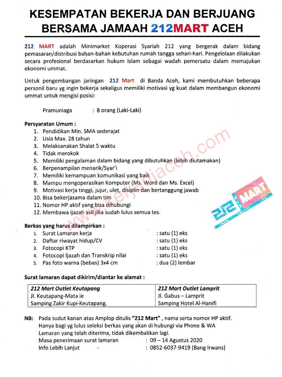Lowongan Kerja Banda Aceh Agustus 2020