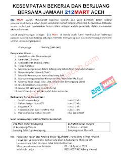 Lowongan kerja Banda Aceh Koperasi Syariah 212 Mart
