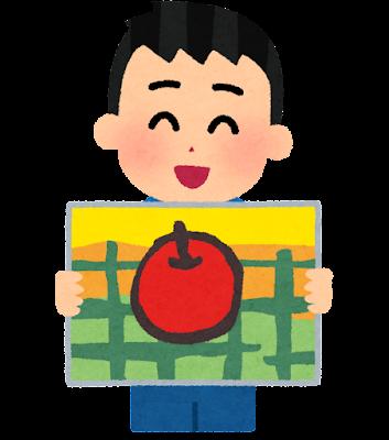 絵を発表する男の子のイラスト