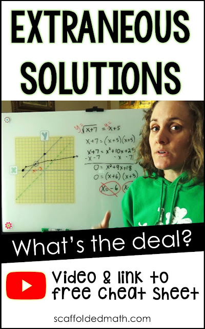 What's the deal with those extraneous solutions we get when solving radical equations? Why do we get two answers but sometimes have to throw out one or even both? In this post I share a video explaining through graphs the answers we get when solving radical equations.