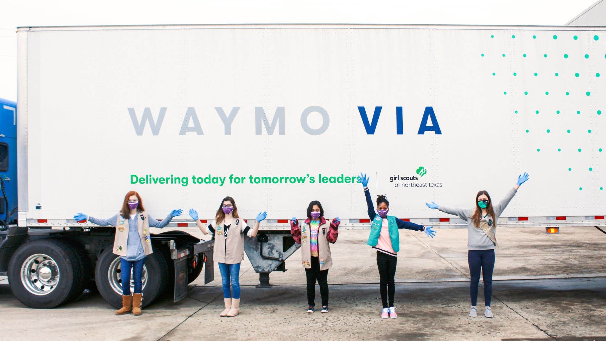 Thumbnail: Girl Scouts in front of Waymo truck